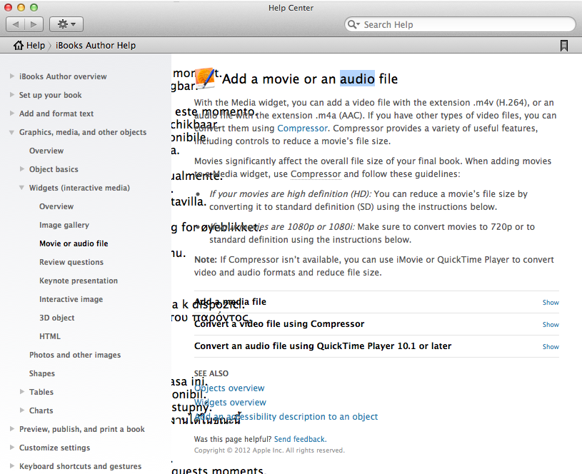 Display issues in iBooks Author
