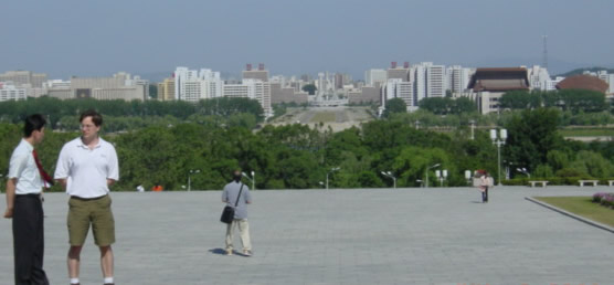 View of Pyongyang cityscape from Statue of Kim Il-sung