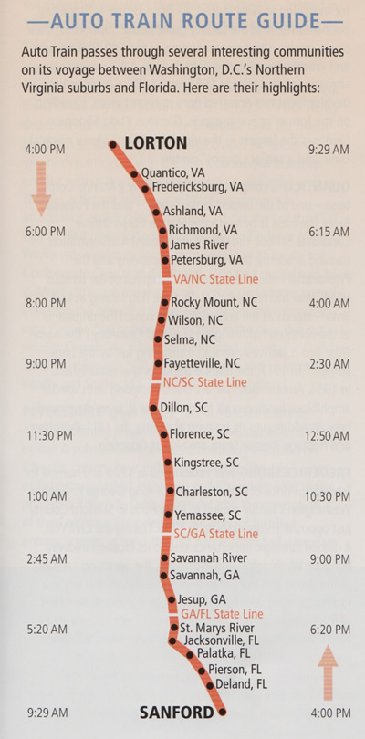 Auto Train Route Guide - Image courtesy Amtrak