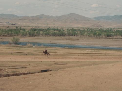 Lone rider near Gobi Desert oasis, Mongolia