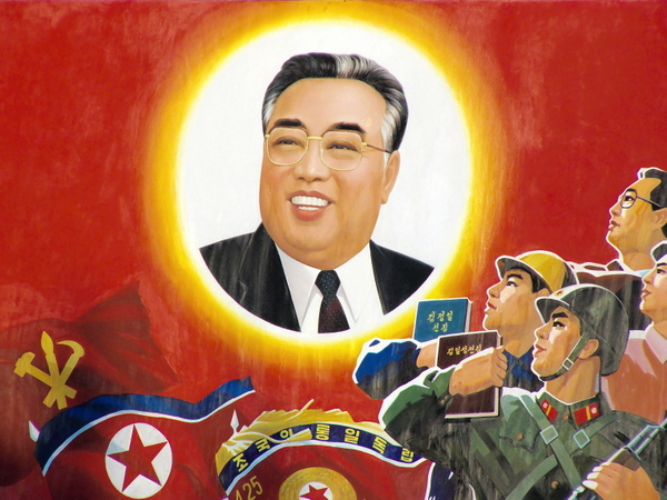 Soldiers, citizens, Kim Il-sung (the books are about the words and life of Kim).